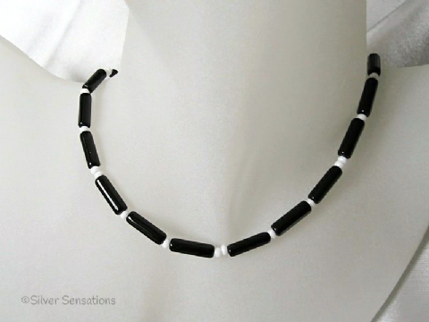 Black Onyx Tubes & Small White Glass Beads Sterling Silver Necklace